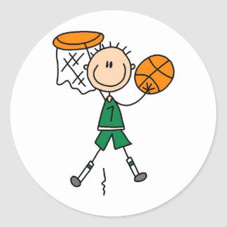 Green Boy Basketball Player t-shirts and Gifts Stickers