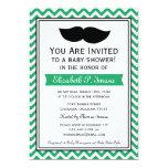 Green Boy Moustache Chevron Baby Shower Invites