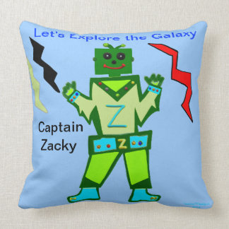 Green Boy Robot Galaxy Explorer PERSONALIZE Throw Pillow