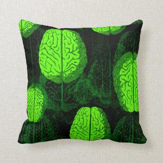 Green Brains! Throw Pillows