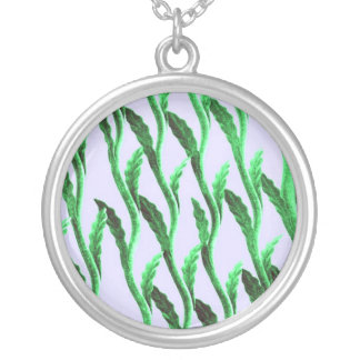Green branches round pendant necklace