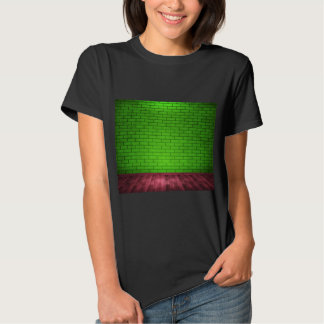 Green Brick Wall And A Wooden Floor T-shirt