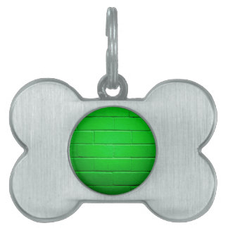 Green Brick Wall Pet ID Tag