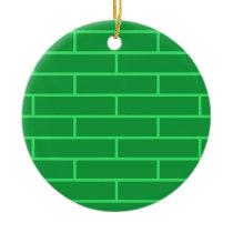 Green Bricks Structure Pattern Ceramic Ornament