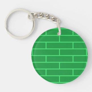 Green Bricks Structure Pattern Keychain