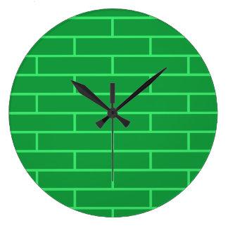 Green Bricks Structure Pattern Large Clock