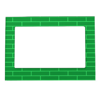 Green Bricks Structure Pattern Magnetic Photo Frame