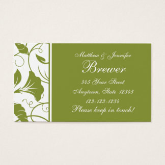 Green Bride and Groom Contact Information Card
