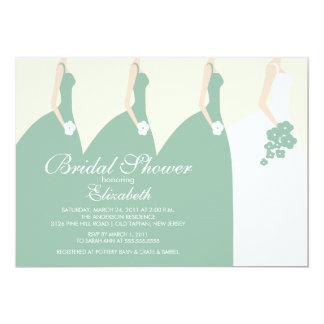 Green Bride Bridesmaids Bridal Shower Invitation