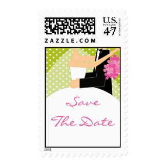 Green Bride & Groom Save the Date Stamp