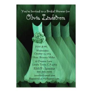 "GREEN Bridesmaid Dresses Bridal Shower Invitation 5"" X 7"" Invitation Card"