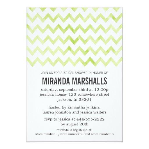 Green Bright Chevron Bridal Shower Invitations