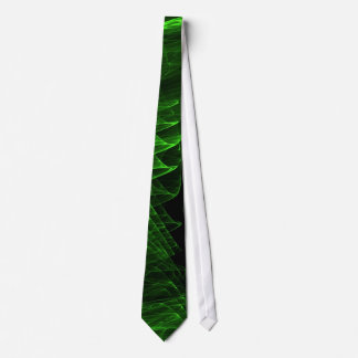 Green bright fractal on balck neck tie