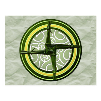 Green Brigid's Cross on Green Postcard