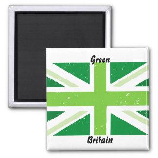 Green Britain, Union jack 2 Inch Square Magnet