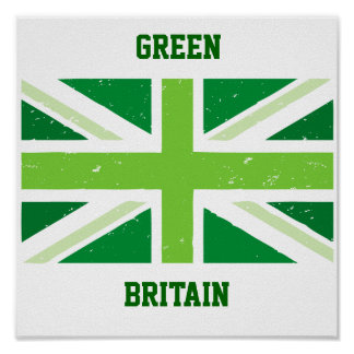 Green Britain, Union jack Poster