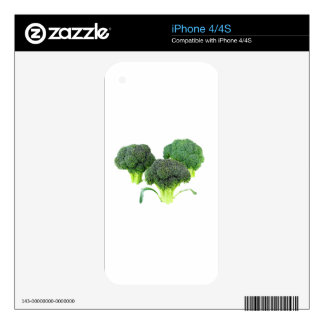 Green Broccoli Crowns on White iPhone 4 Skin