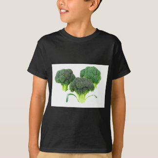 Green Broccoli Crowns on White T-Shirt