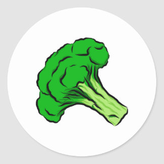 Green Broccoli Floret Drawing Art Vegetables Love Classic Round Sticker