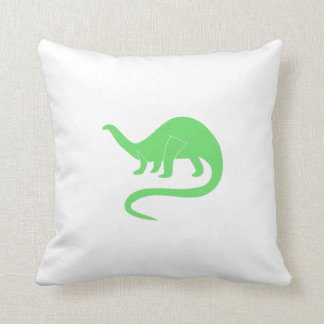 Green Brontosaurus Throw Pillows