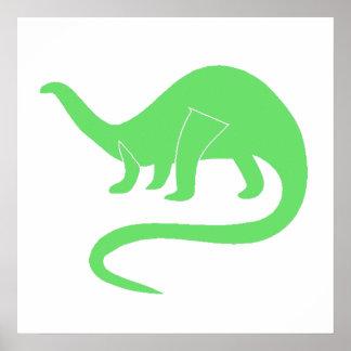 Green Brontosaurus Print