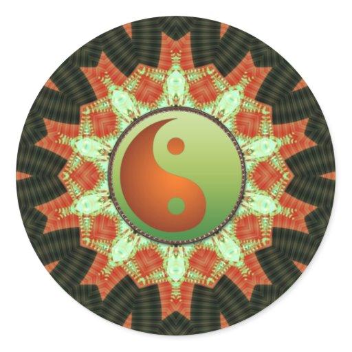 Green & Bronze Yin Yang  Mandala Sticker