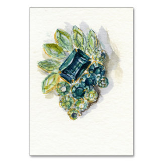 Green Brooch Table Card