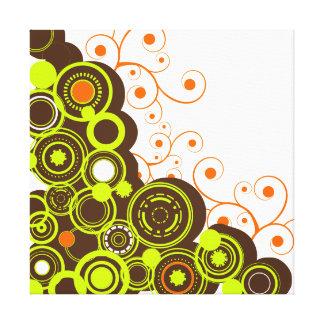 Green & Brown Abstract Circles Canvas Print