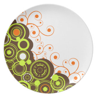 Green & Brown Abstract Circles Dinner Plate