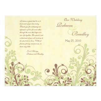 Green & Brown Abstract Floral Wedding Program