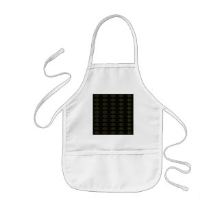 Green, brown and black retro floral pattern. apron