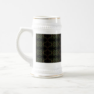 Green, brown and black retro floral pattern. 18 oz beer stein