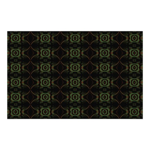 Green, brown and black retro floral pattern. stationery