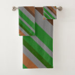 [ Thumbnail: Green, Brown and Grey Stripes Towel Set ]