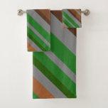 [ Thumbnail: Green, Brown and Grey Stripes Towel Set ]