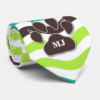 Green, Brown and Teal Chevron Waves with Dog Paw Tie