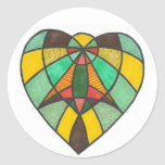 Green Brown Angel Heart Stickers