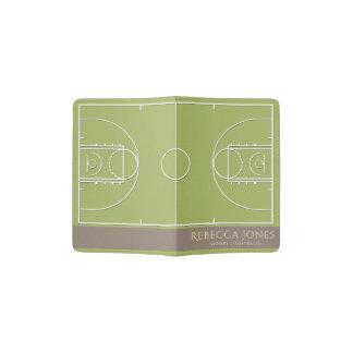 GREEN BROWN BASKETBALL COURT LEATHER  MONOGRAM PASSPORT HOLDER