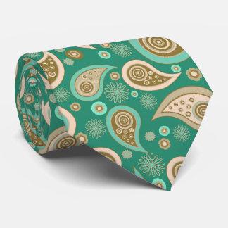 Green brown beige elegant vintage paisley pattern tie