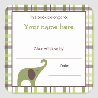 Green Brown Boy Elephant Baby Shower Book Plate