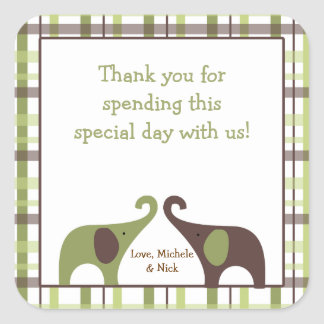 Green Brown Boy Elephant Baby Shower Favor TWINS Square Sticker
