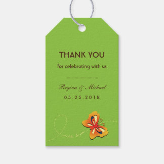 Green Brown Butterfly Wedding Party Favor Gift Tag