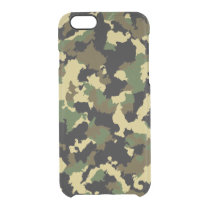 Green/Brown Camo Clear iPhone 6/6S Case