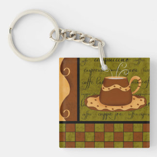 Green Brown Coffee Cup Checkerboard Art Keychain