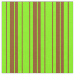 [ Thumbnail: Green & Brown Colored Lines Pattern Fabric ]