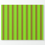 [ Thumbnail: Green & Brown Colored Lines Pattern Wrapping Paper ]