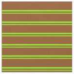 [ Thumbnail: Green & Brown Colored Pattern of Stripes Fabric ]