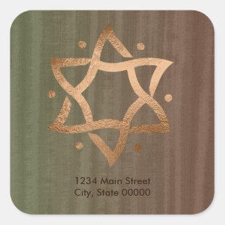 Green & Brown Copper Star of David Return Address Square Sticker