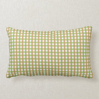 Green & Brown Crosshatched Pillow