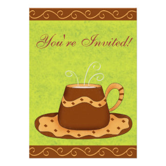 Green Brown Cup Customized Coffee Event Invitation